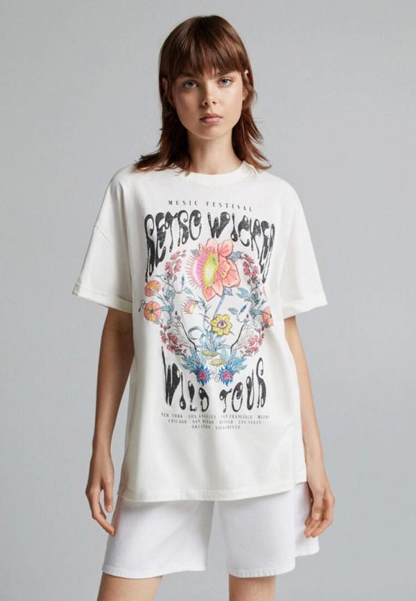 женская футболка bershka, белая