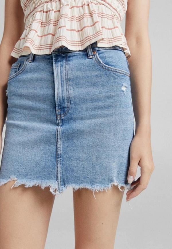 женская джинсовые юбка bershka, голубая