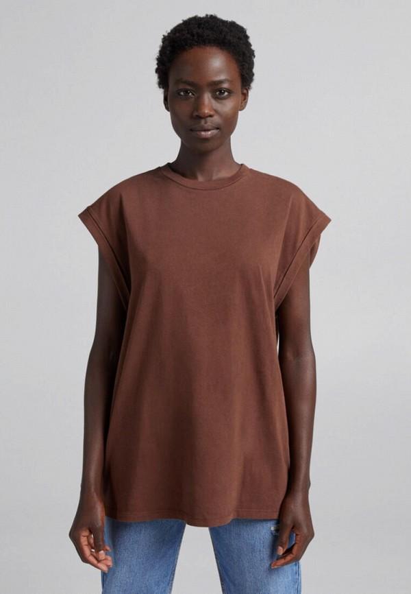 женская футболка bershka, коричневая