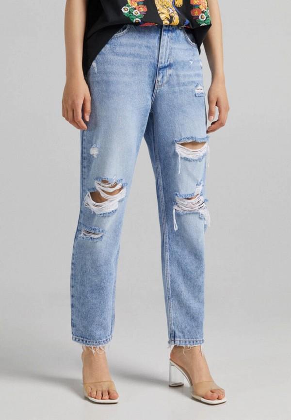 женские прямые джинсы bershka, голубые