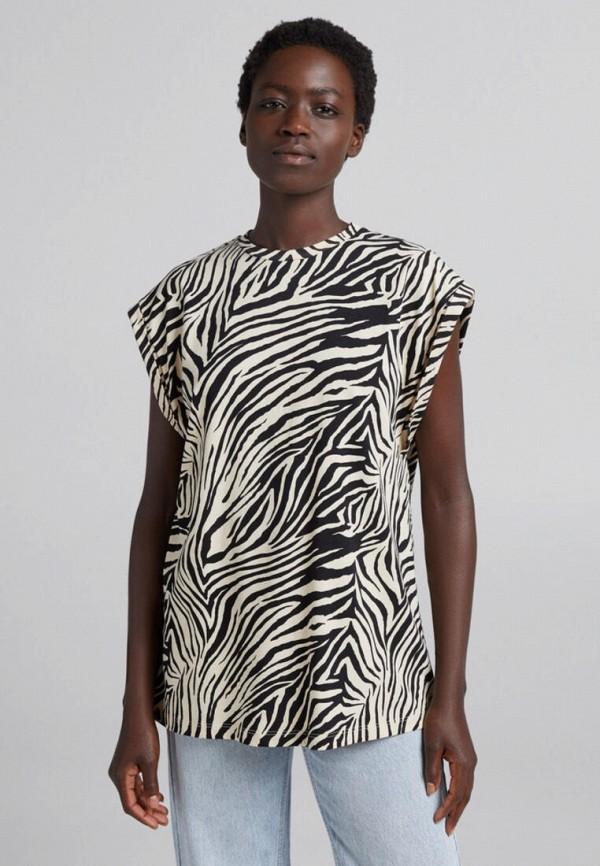 женская футболка bershka, разноцветная