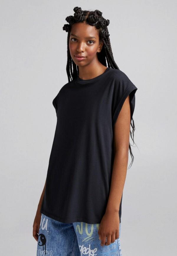 женская футболка bershka, черная