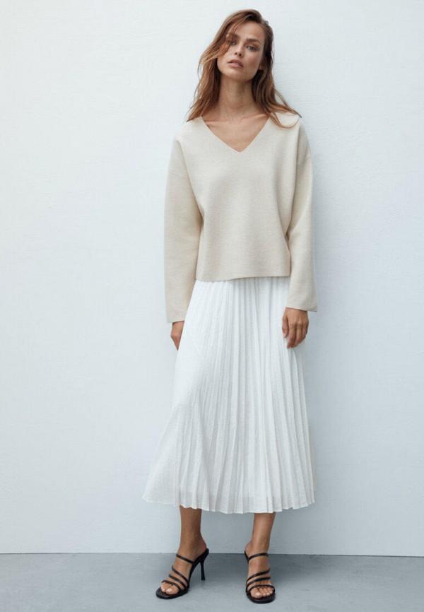 женская юбка-трапеции massimo dutti, белая