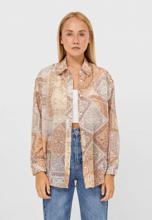 Рубашка Stradivarius бежевого цвета