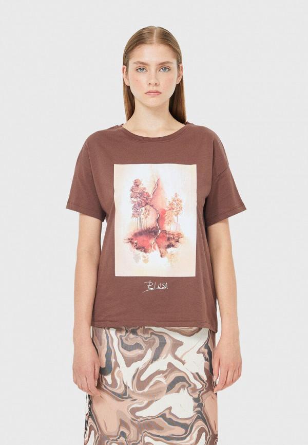 женская футболка stradivarius, коричневая