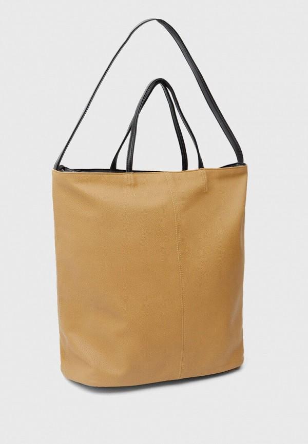 женская сумка с ручками stradivarius, бежевая