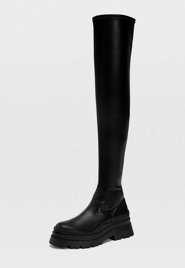 женские ботфорты stradivarius, черные