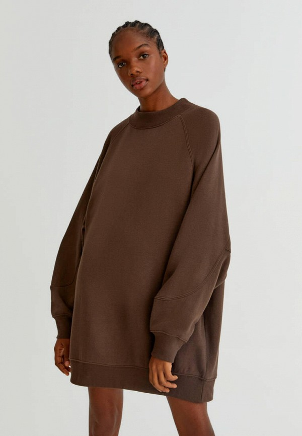 женское платье-толстовки pull & bear, коричневое