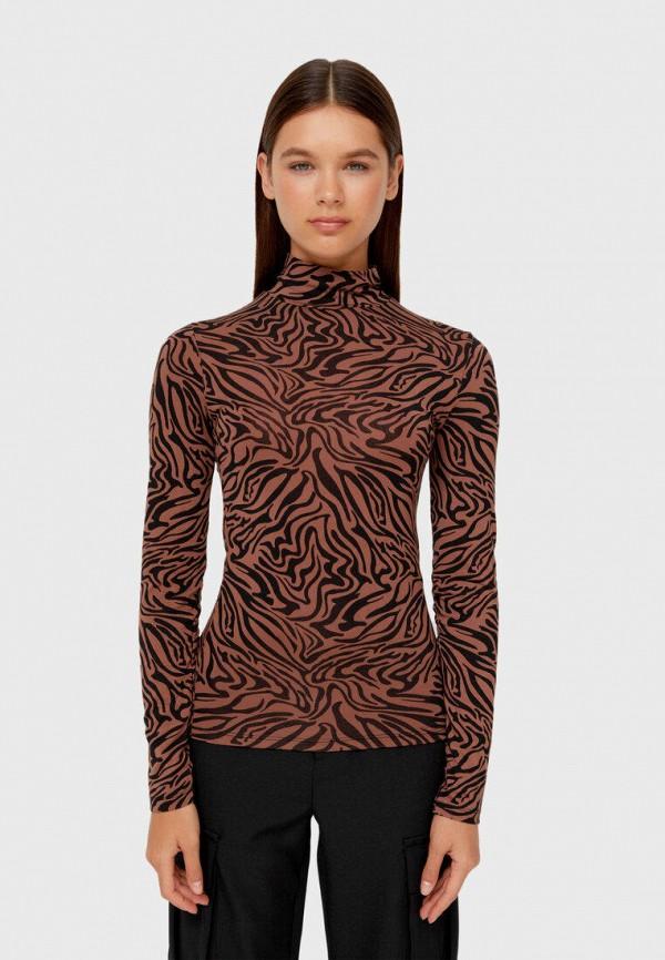 женский лонгслив stradivarius, коричневый