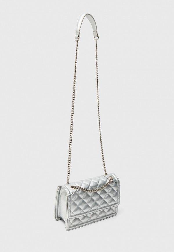 женская сумка через плечо stradivarius, серебряная