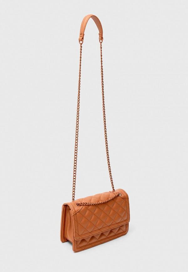 женская сумка через плечо stradivarius, коричневая