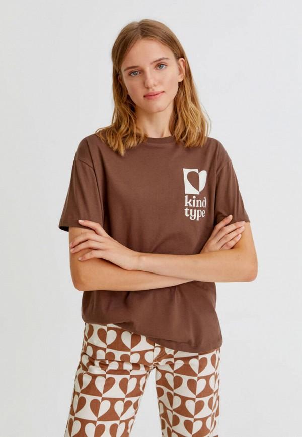женская футболка pull & bear, коричневая
