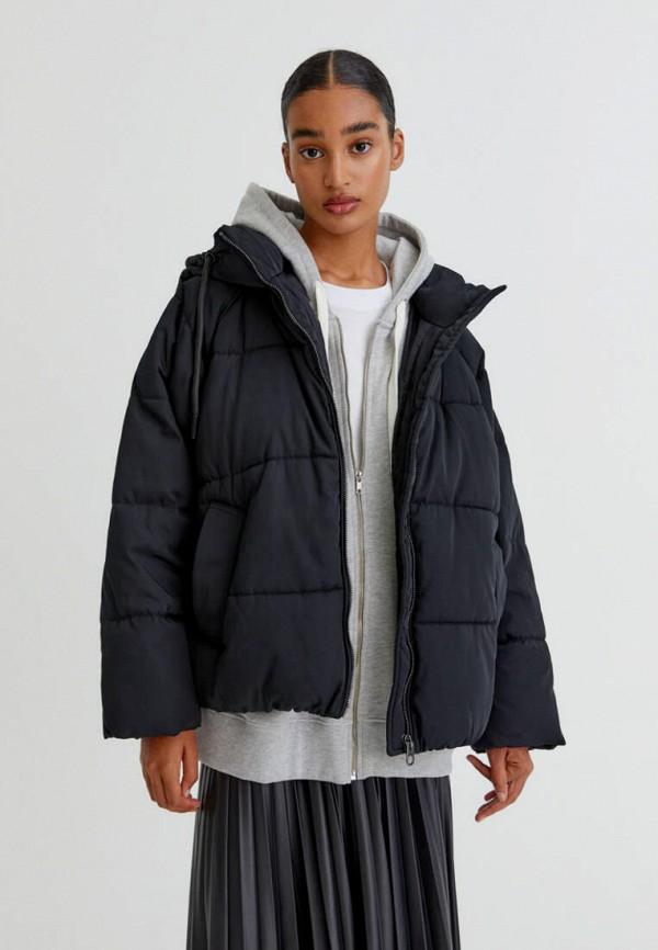 женская утепленные куртка pull & bear, черная