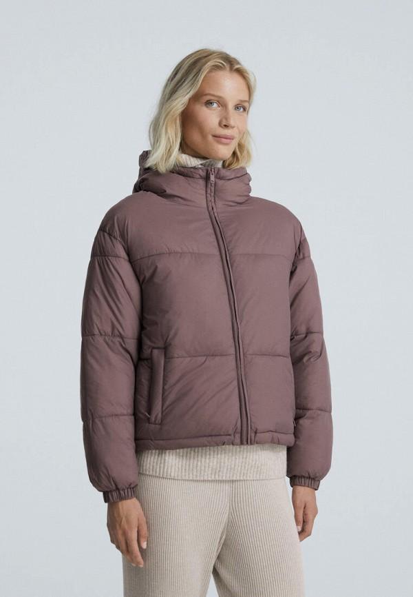 женская утепленные куртка oysho, коричневая