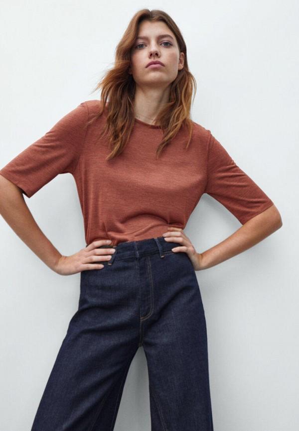 женская футболка massimo dutti, коричневая