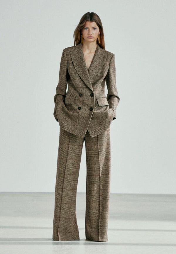 женские повседневные брюки massimo dutti, коричневые