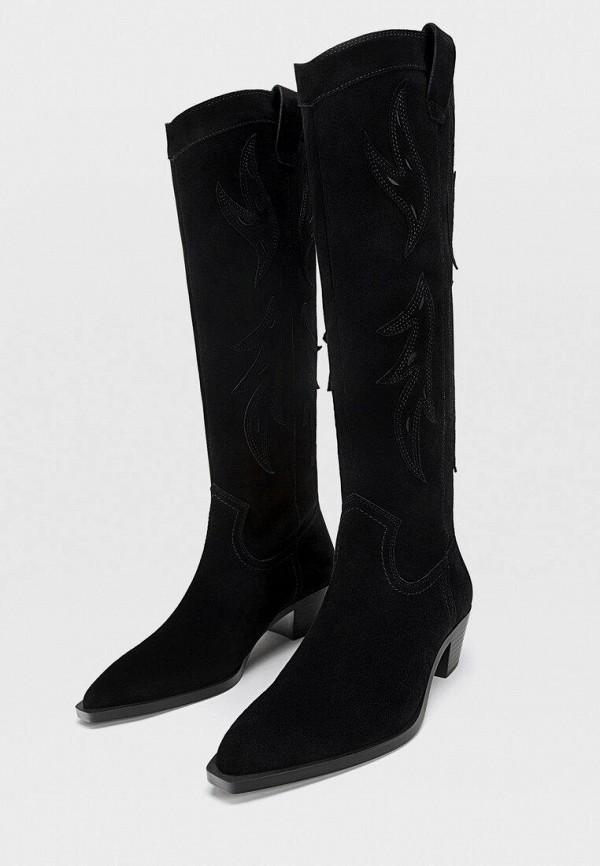 женские сапоги stradivarius, черные