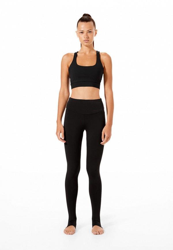 женские спортивные леггинсы stradivarius, черные