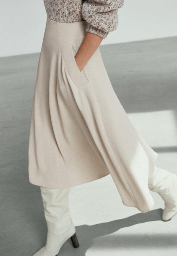 женская юбка-трапеции massimo dutti, бежевая