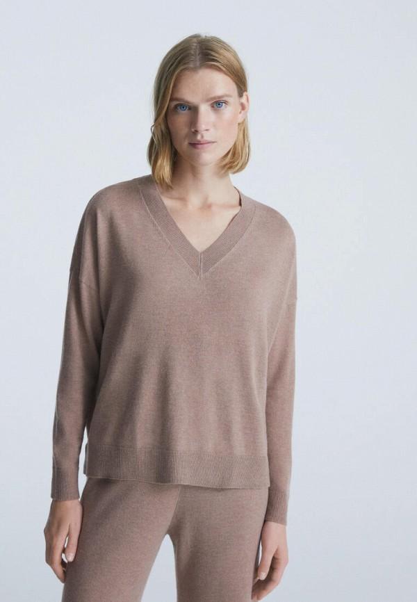 женский пуловер oysho, коричневый