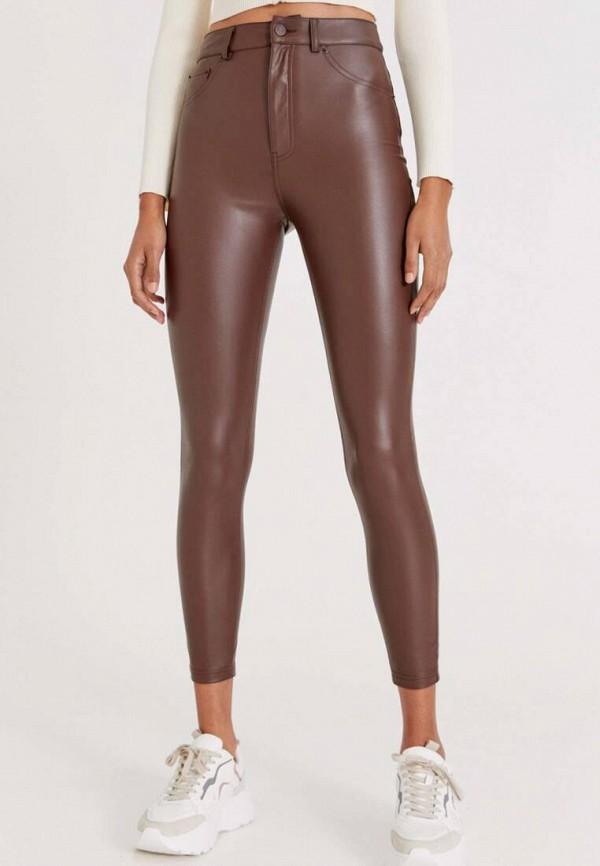 женские кожаные брюки pull & bear, коричневые