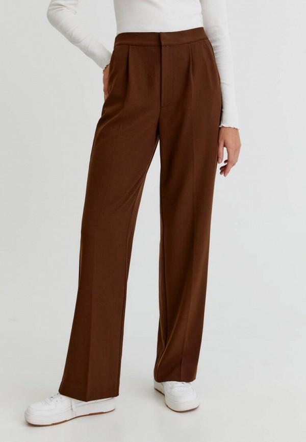 женские классические брюки pull & bear, коричневые