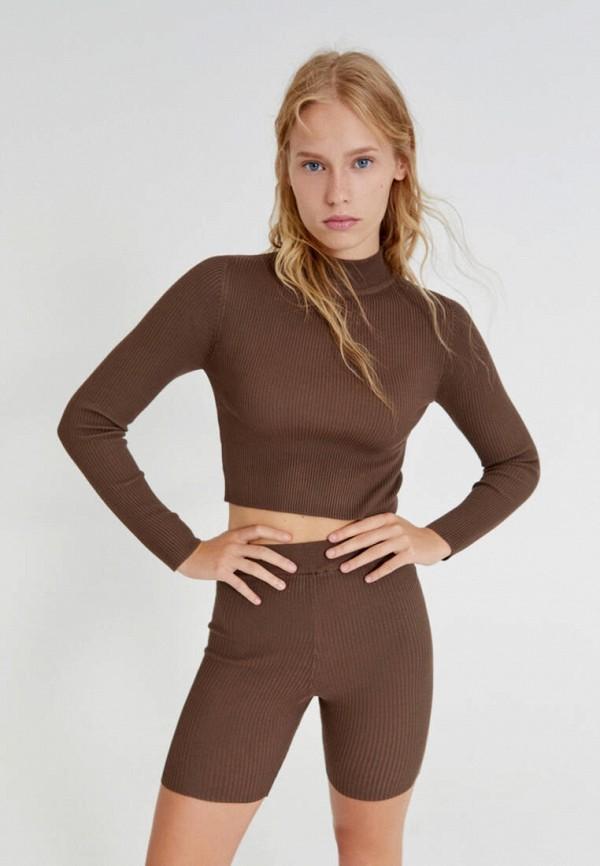 женская водолазка pull & bear, коричневая
