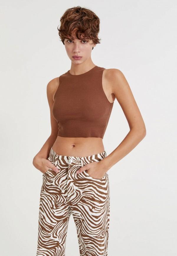 женский топ pull & bear, коричневый