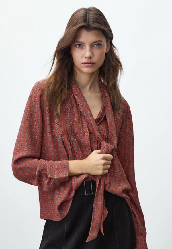 женская блузка massimo dutti, коричневая