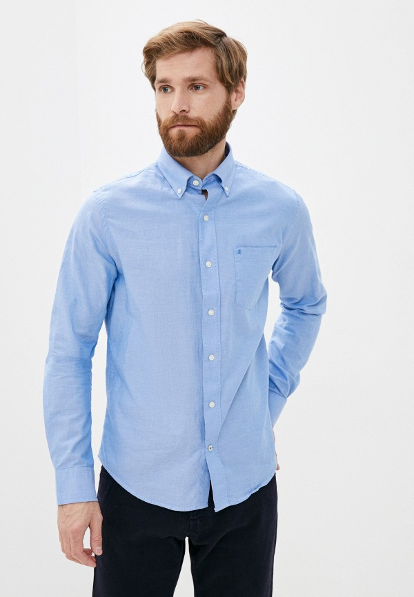 мужская рубашка с длинным рукавом izod, синяя