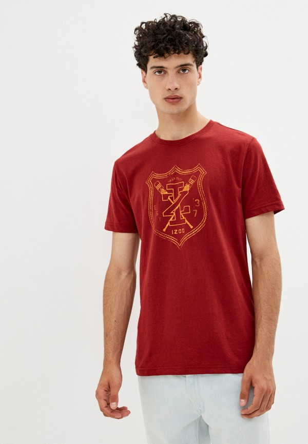 мужская футболка с коротким рукавом izod, бордовая