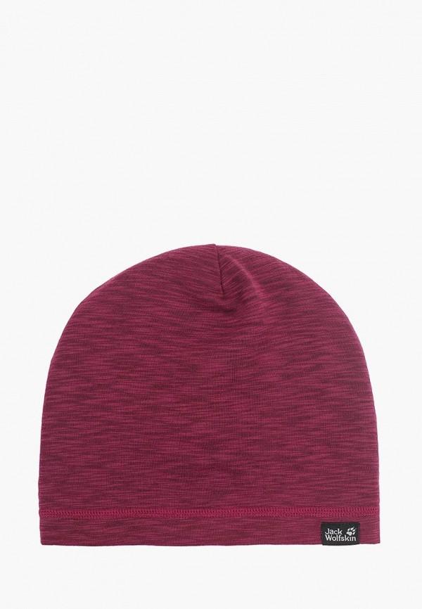 женская шапка jack wolfskin, бордовая