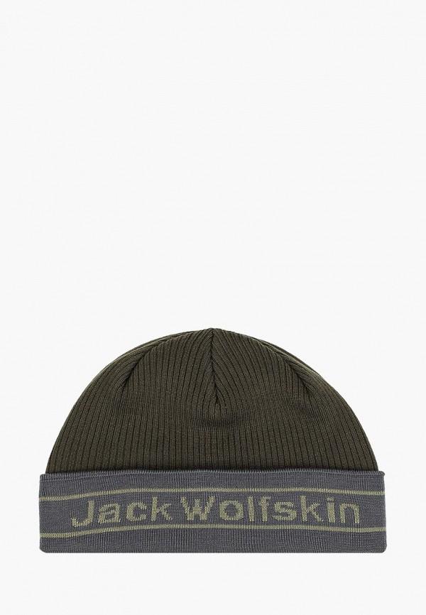 женская шапка jack wolfskin, хаки
