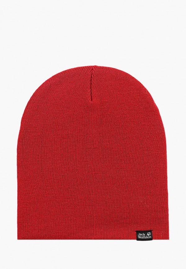 женская шапка jack wolfskin, красная