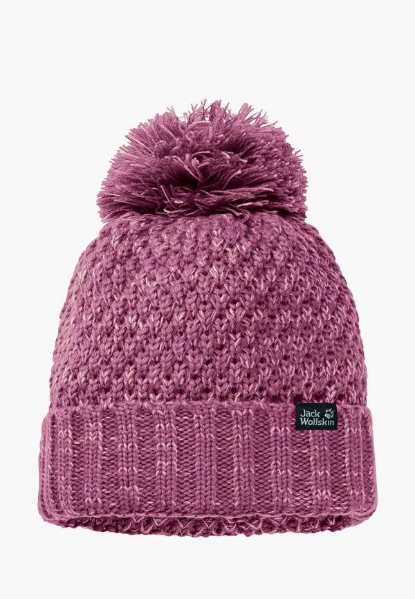 женская шапка jack wolfskin, фиолетовая