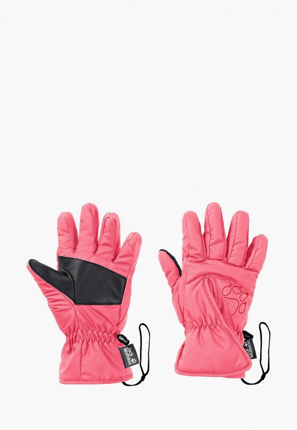 перчатки jack wolfskin для девочки, розовые