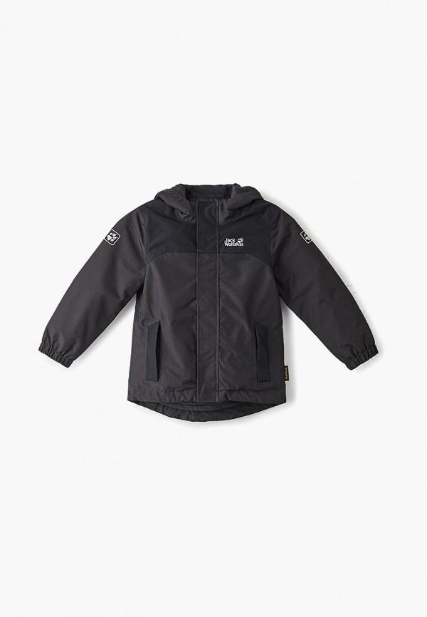 куртка jack wolfskin для мальчика, черная