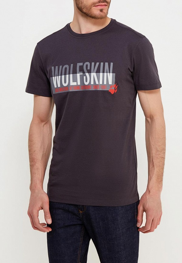 Купить Футболка Jack Wolfskin, SLOGAN T MEN, JA021EMAOQK6, серый, Осень-зима 2018/2019