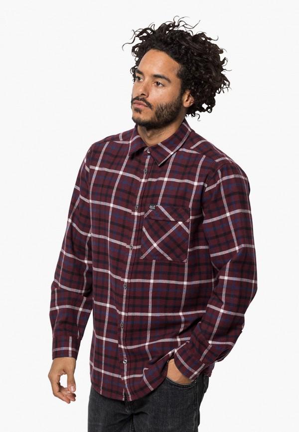 мужская рубашка jack wolfskin, бордовая
