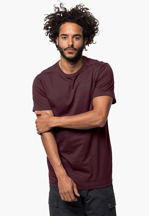 мужская спортивные футболка jack wolfskin, бордовая