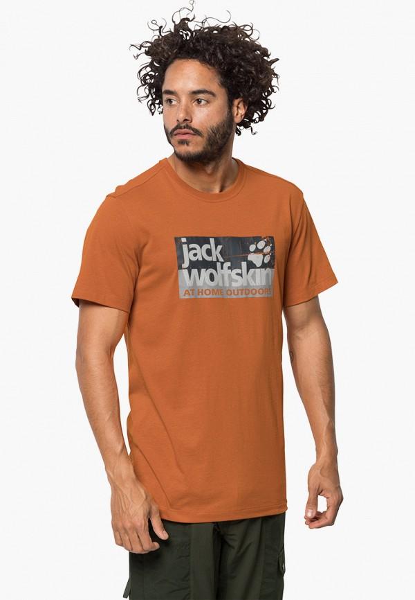 мужская спортивные футболка jack wolfskin, оранжевая