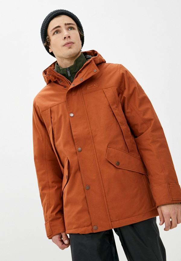 мужская куртка jack wolfskin, оранжевая