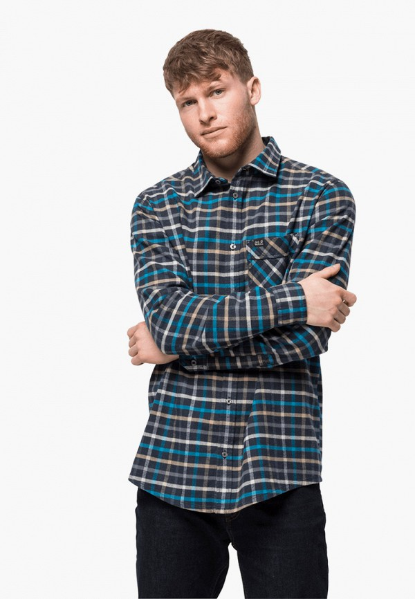 мужская рубашка jack wolfskin, синяя