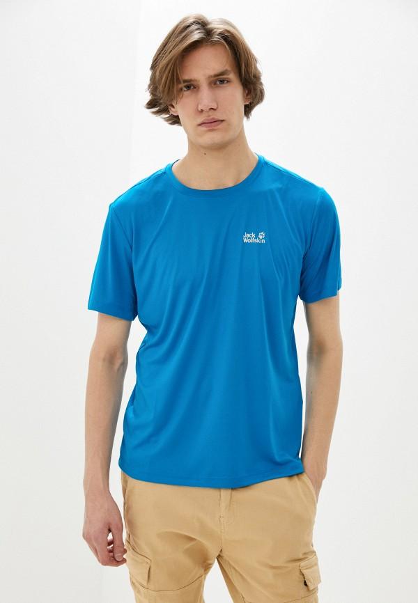 мужская спортивные футболка jack wolfskin, голубая