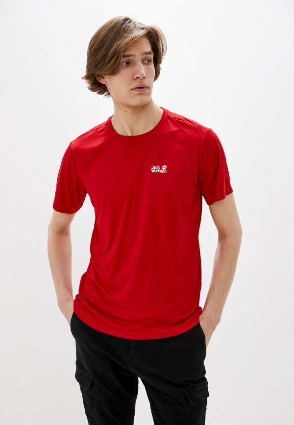 мужская спортивные футболка jack wolfskin, красная
