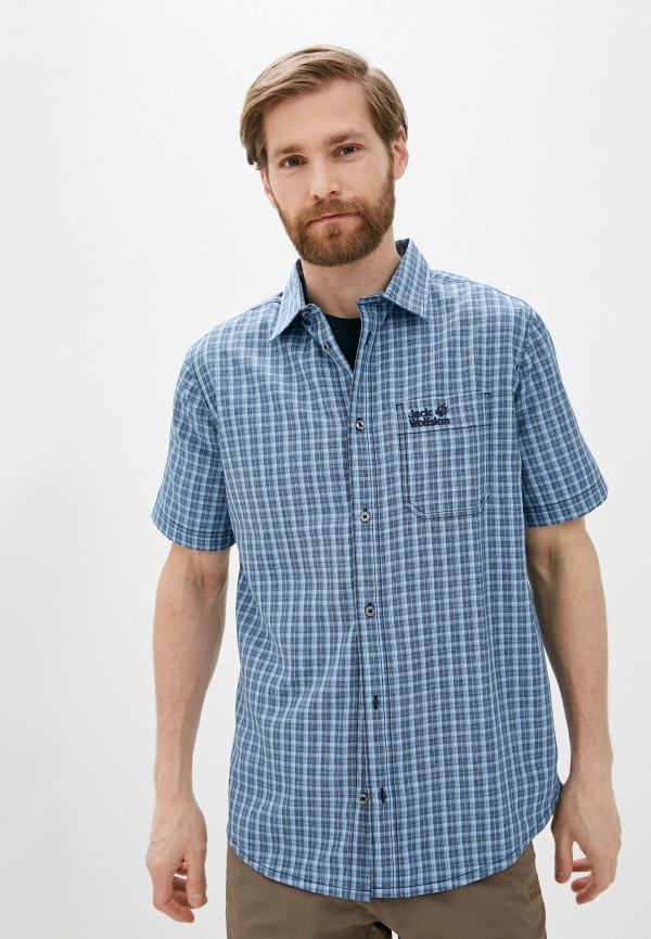 мужская рубашка jack wolfskin, голубая