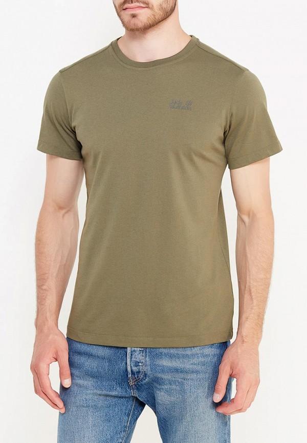 мужская футболка с коротким рукавом jack wolfskin, хаки