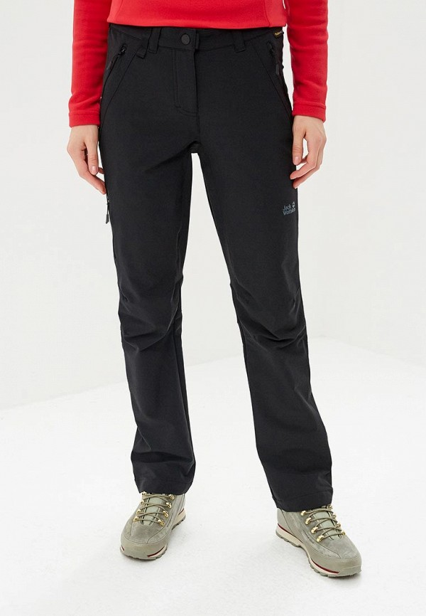 женские брюки jack wolfskin, черные