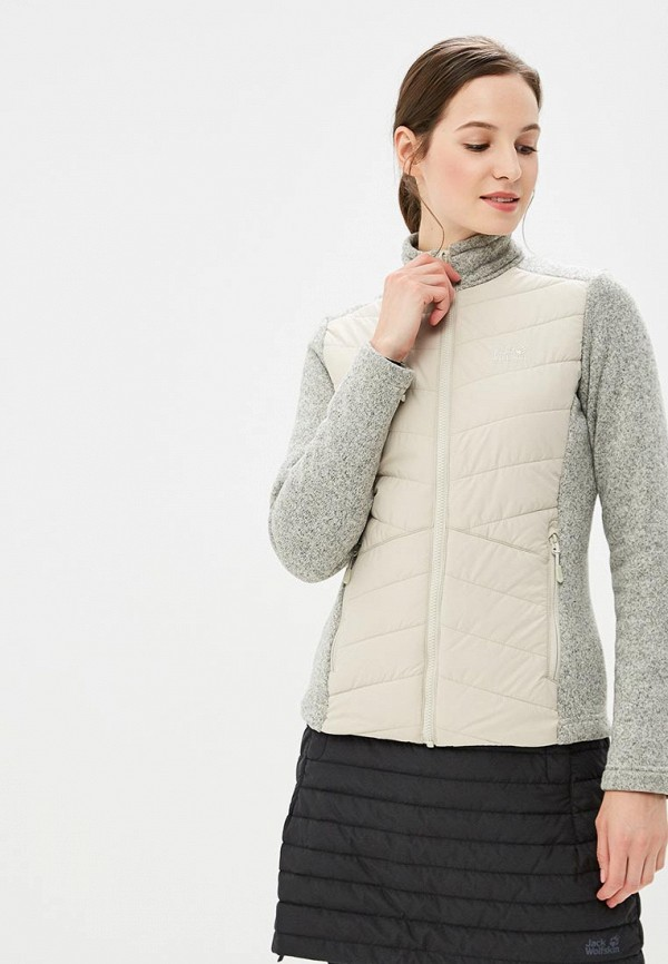 Купить Куртка утепленная Jack Wolfskin, CARIBOU CROSSING TRACK WOMEN, JA021EWCOGM5, бежевый, Осень-зима 2018/2019
