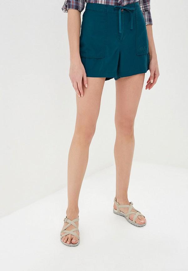 женские спортивные шорты jack wolfskin, зеленые
